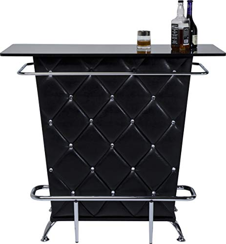 Kare Design Bar Lady Rock Black, extravaganter Bartisch, Schwarz-Silber (H/B/T) 104x120x52cm