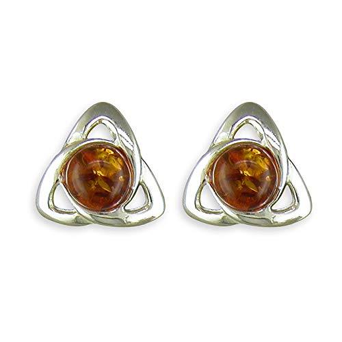 925 Sterling Silver Cognac Amber Celtic Stud Earrings