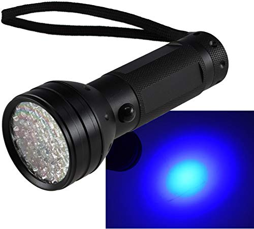 Torcia con luce UV, 51 LED, diametro 55 x 145 mm, rilevatore banconote secche, luce nera