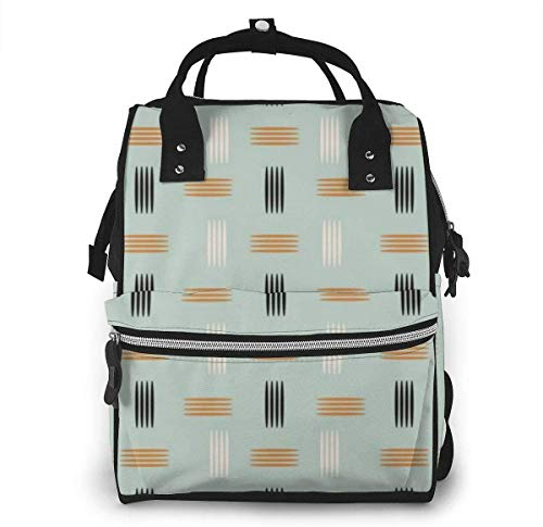 Mid Century Easy Pattern Diaper Backpack Large Capacity Baby Bags Multi-Function Zipper Casual Travel Backpacks for Mom Dad Unisex