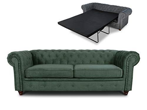 Schlafsofa Chesterfield Asti Bis 3-Sitzer, Sofa mit Schlaffunktion, Couch 3-er, Couchgarnitur, Sofagarnitur, Holzfüße, Polstersofa (Grün (Capri 74))