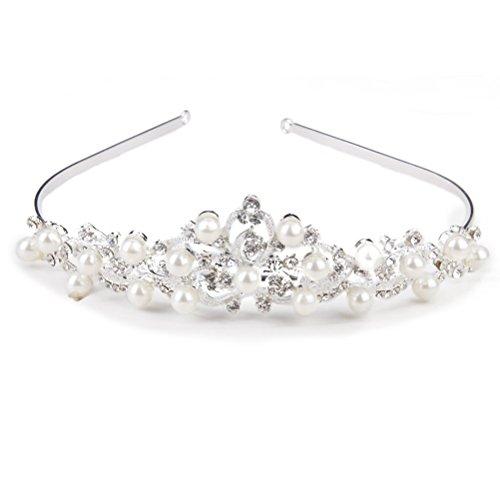 ROSENICE Diadem Krone Hochzeit Haarband Stirnband Haarreif Kristall Perle Blume Brautschmuck