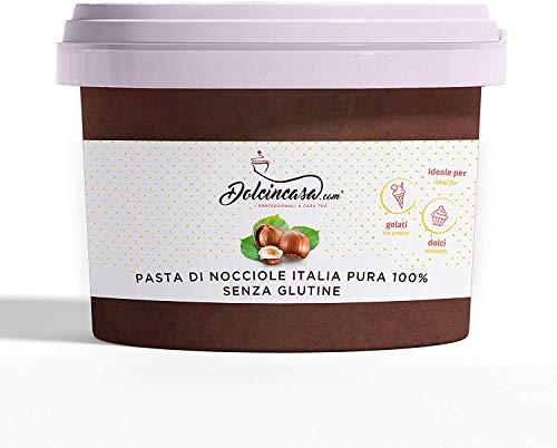Dolcincasa-com Pasta di Nocciole Italia Pura 00 % per Gelato Alla Nocciola, Creme e Dolci Qualita' Mortarella Senza Addensanti, 1 Kilograms
