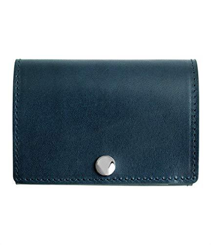 [Dom Teporna Italy] 小さい財布 本革 イタリアンレザー コンパクトな三つ折り ミニ財布 小銭入れあり メンズ レディース ネイビー