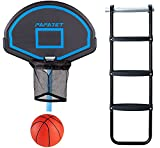 PAPAJET Trampoline Basketball Hoop &Wide 3-Step Trampoline Ladder Easy Install Only for Straight Pole