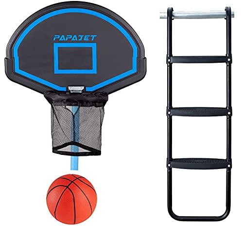 PAPAJET Wide 3-Step Trampoline Ladder & Universal Trampoline Basketball Hoop Easy Install Only for...