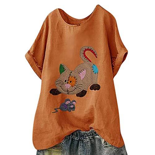Vectry Camisa Mujer Tallas Grandes Mujer Manga Corta Algodón Lino O-Cuello Blusa Estampada Top Camiseta Camisa Otoño Verano Playa Y Fiesta