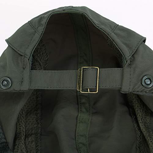 UVカット帽子日よけ帽子フェイスカバー付き全方位ガード夏用アウトドアUV対策速乾通気(ダックグリーン)