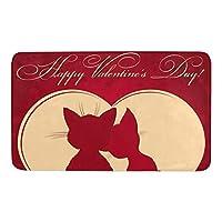 バレンタインかわいいキティドアマット滑り止めバッキング超吸収性ウェルカムドアマット玄関ドアラグ装飾オフィスガーデンキッチンマット24x16インチ