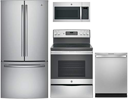 GE 4 pcs Kitchen Package with GNE25JSKSS 33' fridge, JB655SKSS 30'Freestanding Elec. Range, JVM6175SKSS 30' Over the Rage Micorwave Oven and GDT655SSJSS 24'Built In Fully Integ. D/W in Stainless Steel