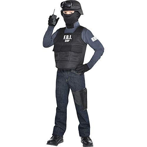 Party City F.B.I. Halloween Costume for Boys, Medium (8-10), Includes Helmet, Walkie Talkie, Goggles and More
