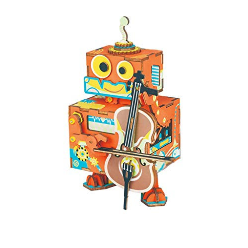 Music Box 3D Wooden Puzzle, Music Box Building Kits, Best Gift for Aults & Teens When Christmas/Birthday/Valentin Christmas (Color : Orange)