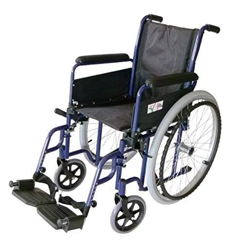 FabaCare Rollstuhl New Classic, Standardrollstuhl faltbar, mit Bremsen an den Schiebegriffen, Transportrollstuhl bis 120 kg, Sitzbreite: 50 cm