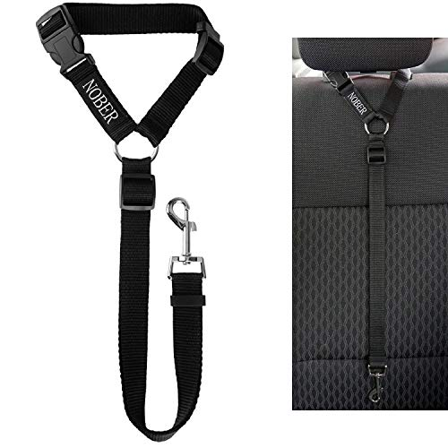 NOBER Car Headrest Harness Tether Leashes for Dog Adjustable Seat Belt Safety Leads Vehicle Fabric 1 Pack