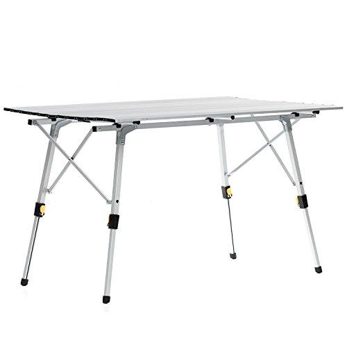 skandika Alu Falttisch für 6 Personen Campingtisch bis 30 kg belastbar (120 x 70 x 45/70 cm)