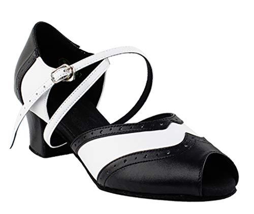 Ladies Women Ballroom Dance Shoes from Very Fine C6035 Black & White 1.6' Cuban Heel (8)