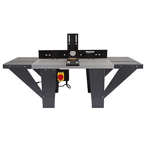 EBERTH Banco per fresatrice (Dimensioni 1030 x 360 mm, 155 mm Diametro del Cesto di macinazione, 280 mm Altezza di lavoro, Estensione tavolo bilaterale, Battuta angolare, Interruttore)