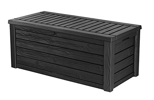 Keter Westwood 150 Gallon Resin Large Deck Box-Organization and Storage for Patio Furniture, Outdoor Cushions, Garden Tools and Pool Toys, Dark Grey
