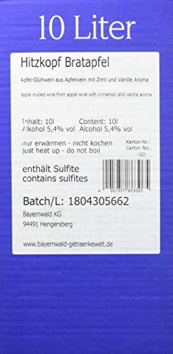 Bayernwald Hitzkopf Glühwein Bratapfel, aus Obst- und Beerenwein, hergestellt mit natürlichen Früchten in bester Qualität, 5,4% vol, BIB 10 l