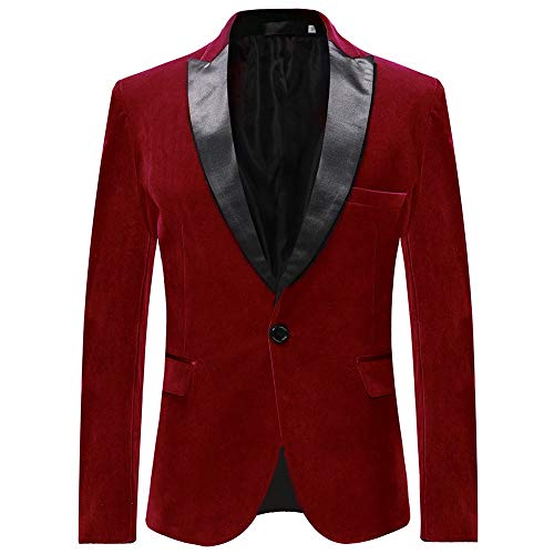 Allthemen Sakko Herren in Samt Optik Regular Fit Blazer Freizeit Smokingjacke für Hochzeit Rot XX-Large
