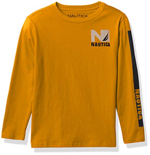 Nautica Boys' Long Sleeve Colorblock Arm Logo Tee, F20 Citrus/Navy Block, M5