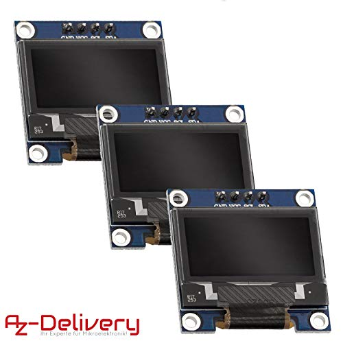 AZDelivery 3 x I2C Display 128 x 64 Pixel 0,96 Zoll Display mit weißen Zeichen kompatibel mit Arduino und Raspberry Pi inklusive E-Book!