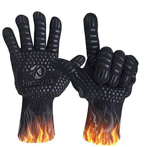 Kossyna - Guante anticalor a 800 °C – Par de guantes de cocina – Resistente – Antideslizante – Incluye gancho + un libro – Guante BBQ protege de quemaduras durante el manejo del horno