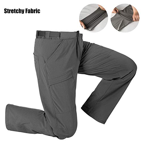 FREE SOLDIER Men's Outdoor Cargo Hiking Pants with Belt Lightweight Waterproof Quick Dry Tactical Pants Nylon Spandex (Mud 34W/30L)