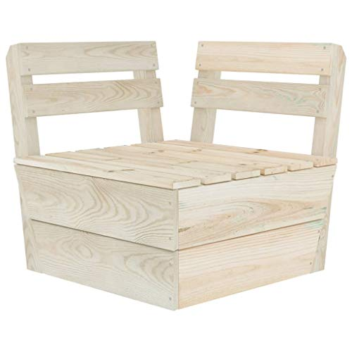 vidaXL Sofá de esquina modular de madera de abeto impregnada, sofá de esquina individual para jardín, sillón de jardín, sillón de jardín