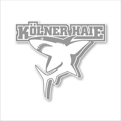 Kölner Haie Aufkleber Logo (9, 9x8, 5cm), Silber/Transparent