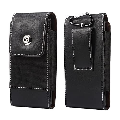 Funda de cuero para teléfono celular diseñada para iPhone 12, 12Pro, 11, XR, para Samsung Galaxy Note10, s21, s20 S10, A41/S7edge, funda de cuero para cinturón con clip para cinturón. Color negro