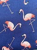 Fat Quarter Quiltstoff, Flamingos auf marineblauem