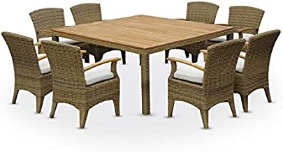 Kai 8 Seater Square Teak Top Dining Table & Chairs Setting in Half Round Wicker, Brushed Wheat, Cream Cushions - Outdoor W...