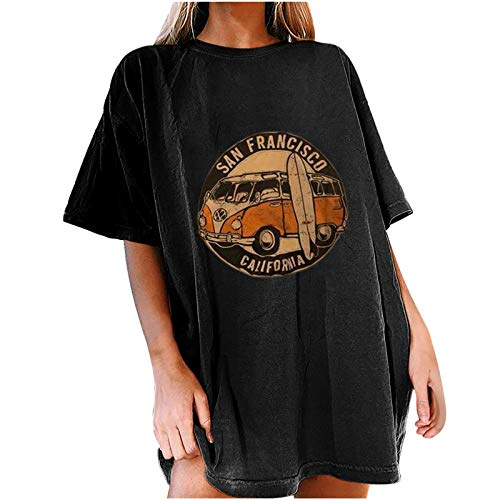 Vintage Car Graphic Shirt for Women Summer Casual Letter Print Tee Oversized Loose Short Sleeve Round Neck Tunic Blouse Tops