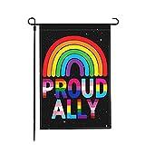 Jopath Lgbt Pride - Bandera de jardín de Mes del Orgullo Gay del Arco Iris, de doble cara, 18 x 12 pulgadas, resistente al lino, tela al aire libre, bandera de patio