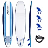 Wavestorm 8ft Classic Surfboard // Foam Wax Free Soft Top Longboard for Adults and Kids of All Levels of Surfing