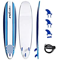Soft foam construction// EPS core with 3 Stringer System Textured traction pad Hdpe Slick bottom skin Removable bolt thru fins, and ankle leash Dimensions 8' x 22 1/2 x 3 1/4// Weight 11. 5 lbs. Weight capacity: Up to 200 lbs / 81 L