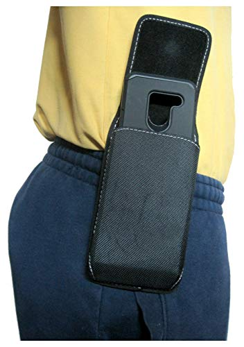Mgbca Nylon Cell Phone Pouch for Jitterbug Smart2, A Rugged Phone Belt Holder with Belt Loops Plus Fixed Holster Clip, Magnetic Closure Fits Slim-Fit Case On Smartphone (Black-Vertical)
