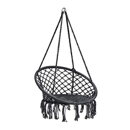 LKITYGF Alegre Silla Colgante Stand Hamaca Tumbona Silla Porche Columpio para el Dormitorio del hogar jardín jardín Hamaca Silla Negro 60x80cm (Color : Black, Size : 60x80CM)