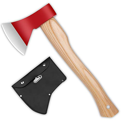 sanyi Camping Axe Outdoor Hatchet Chopping Axe 15inch for Wood Splitting and Kindling Camping Supplies Red