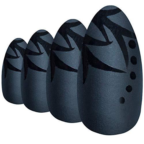 Faux Ongles Bling Art Noir Feuille Mat 24 Stiletto Longue Faux bouts d'ongles acrylique avec colle