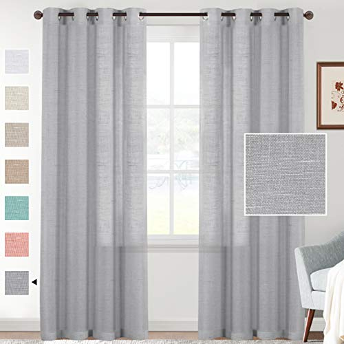 """Linen Sheer Curtains 84 Inches Long Semi Sheer Gray Curtains - Privacy Added Silver Grommet Linen Curtain Panels for Living Room/Bedroom Light Filtering Curtains (52"""" W x 84"""" L, 2 Panels)"""