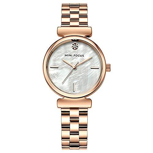 QIXIAOCYB Las mujeres relojes impermeable oro rosa correa de acero inoxidable vestido marca lujo moda casual cuarzo señoras relojes, Rose Gold Watch,