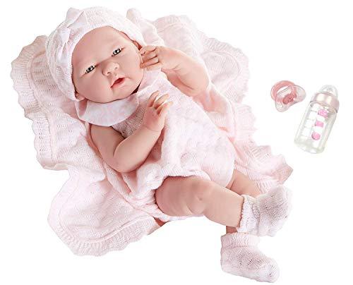 "Berenguer Realistic Little Girl Doll - Traje de punto rosa con manta, 15 """