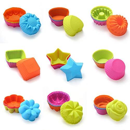 KeepingcooX Lot de 36 moules à muffins réutilisables en silicone – Antiadhésif et résistant à la chaleur | Moules à cupcakes sans BPA pour rose, château, étoile, cœur