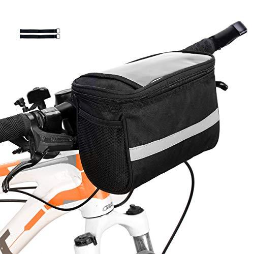 Bicycle Handlebar Bag Bike Bag Bike Bags Handlebar Bike Basket Bag with Mesh Pocket Bicycle Bag Handlebar Bike Pouch for Handlebars 2.5L