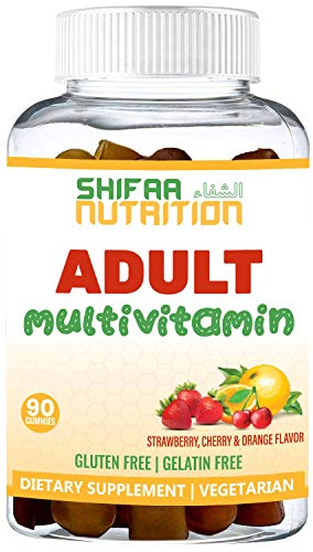 SHIFAA NUTRITION Halal & Vegetarian Gummy Multivitamin For Women, Men, Adults   11 Vitamins, Minerals, Antioxidants   Natural, Free of: Gelatin, Gluten, Dairy, Nuts & Soy   Halal Vitamins   90 Gummies