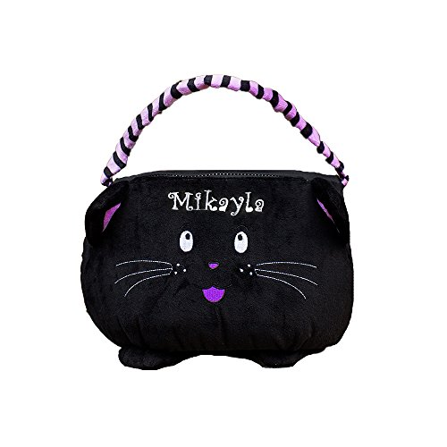 GiftsForYouNow Black Cat Personalized Trick or Treat Bag