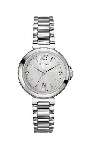Bulova Diamond Reloj de Cuarzo para Mujer con Madre de Pearl Esfera Analógica Pantalla y Plata Pulsera de Acero Inoxidable 96p149