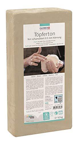 Glorex GmbH 6 8073 110 Töpferton weiß 10 kg, feinschamottiert, Körnung 0,5 mm
